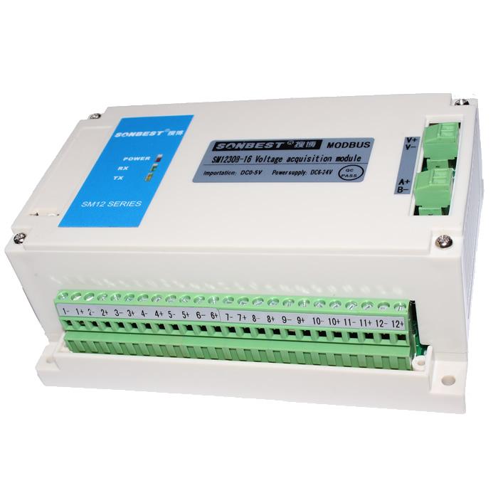 SM1230B电压采集模块,配合高精度AD转换器,支持8路电压环输入,基于工业用MODBUS-RTU协议,实现低成本电池组,电源等各种需要对电压状态进行在线监测的实用型一体化模块,模块采用RS485通讯网路,将分散的现场数据点的模拟量经AD变换传输到主机或由PC控制远程主站点。 它具有独特的双看门狗安全设计,即软件看门狗和硬件看门狗组成。模块万一出现程序飞跑时,可瞬间重新开机。 为便于工程组网及工业应用,本模块采用工业广泛使用的MODBUS-RTU通讯协议,支持二次开发。用户只需根据我们的通讯协议即可使用